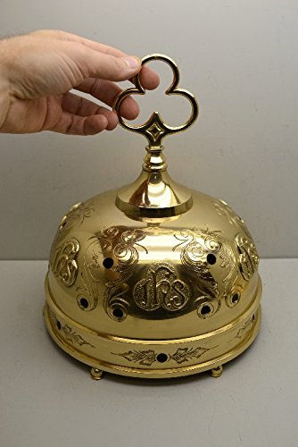 Stationary Sacristy Altar Bells, Sanctus Bells, Communion Church Bells in Solid Brass - Chalice (CCG-286) by Classical Church Goods