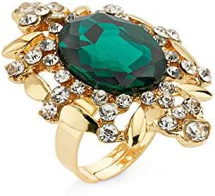 The Ultimate In Bling Ring by 7 Charming Sisters - Green, Gold Crystal Cocktail Ring - Womens Jewel Ring