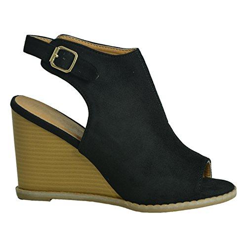 Mujer Fashion De Negro Tacón Cucu Zapatos q4YdxAII