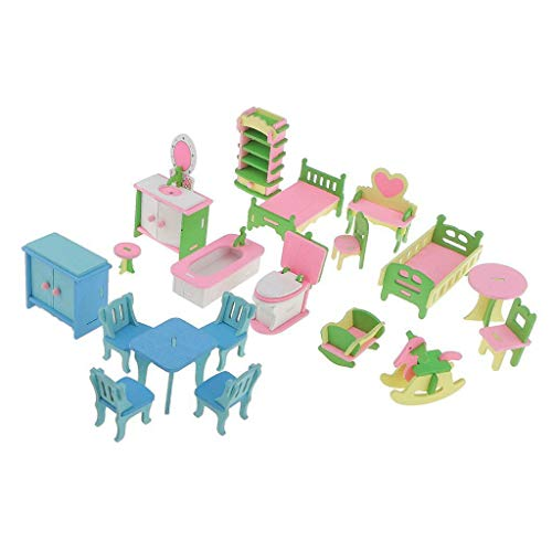 NATFUR Wooden Furniture House Family Doll House Miniature Kid Pretend Role Play Toy
