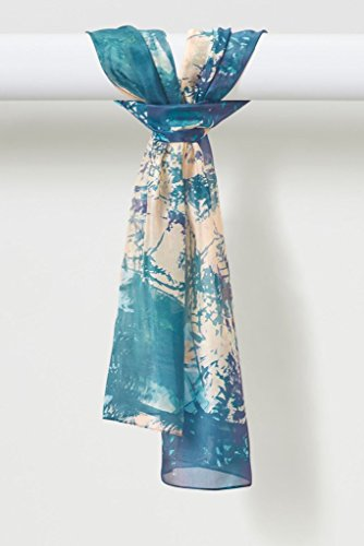 Treescape Organic Habotai Silk Scarf in Blues Beige Greenery by Louis Jane  (''Where Nature Meets Art''TM)
