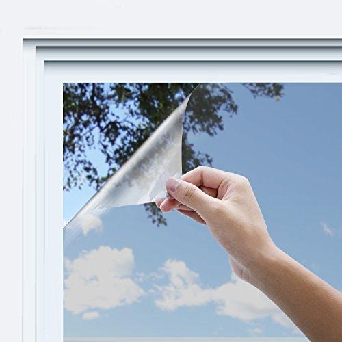Rhodesy One Way Window Film, Anti UV Heat Control Static Cling Privacy Window Film Decorative Removable Window Tint Sun Blocking, 35.4 x 78.7 Inch, Silver by Rhodesy