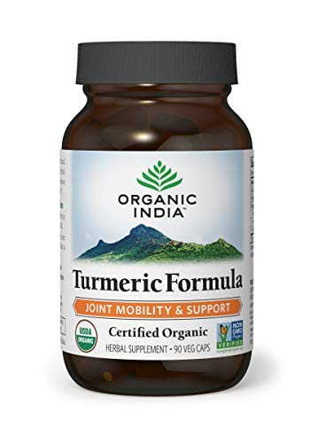 (ORGANIC INDIA Natural Turmeric Root Veg Capsules, USDA Certified Organic, High Bioavailability Formula, 90 Capsules)