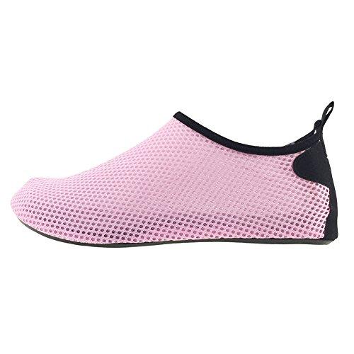 SENFI leichte Quick-Dry Wasser Schuhe für Wassersport Strand Pool Camp (Männer, Frauen, Kinder) D.pink