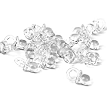 50pcs Mini Pacifiers Baby Shower Christening Favors Party Decorations Clear