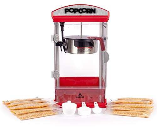 Carnus Home Popcorn Machine with Portion Packs | Features Popcorn Maker with Popcorn Scoop, Kernel Cup, Oil Spoon & 10 Portion Packs with kernels | Ideal for Family Movie Night