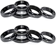 10PCS Hematite Rings for Women Men Unisex, Magnetic Hematite Magnet Ring-6T Curved Surface for Jewelry 6# (16m