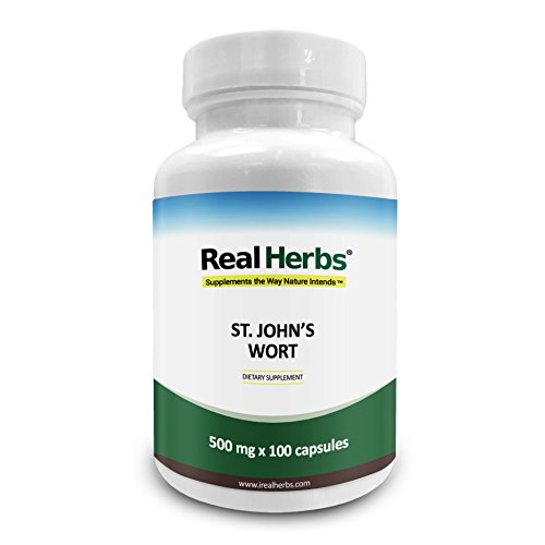 Real Herbs St Johns Wort Standardized to 0.3% Hypericin 500mg - Herb Supplement for Positive Thoughts - Vegan Capsules an alternative to Pills & Tablets - 100 Vegetarian Capsules - Gluten Free