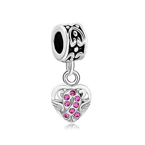 LovelyJewelry Heart Wing Pink Swarovski Elements Crystal Ribbon Breast Cancer Awareness Bead s