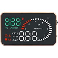 Portta Head Up Display 3 ABS PC HUD with Speed RPM Instantaneous Fuel Consumption real-time water temperature Voltage Alarm Conversion between Celsius and Fahrenheit