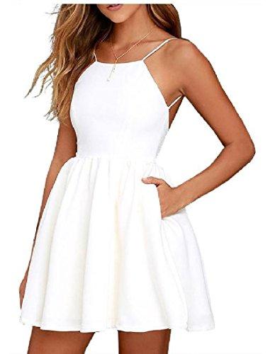 Color Dresses Women White Evening Out Pure Coolred Cut Off Party Shoulder Back C4wXaCnq