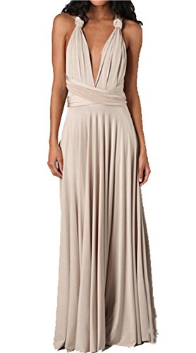Women's Long Maxi Dress Convertible Wrap Cocktail Gown Dress Bandage Bridesmaid Dress, Khaki, Medium (Bridesmaid Dresses Khaki)