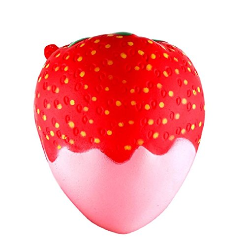 Naladoo Chocolate Sauce Strawberry Jam Strawberry Squeeze Pressure Decompression Toys Slow Rebound PU Toys 11.5cm Strawberry Scented Squishy Slow Rising Squeeze Toys Jumbo Collection (B)