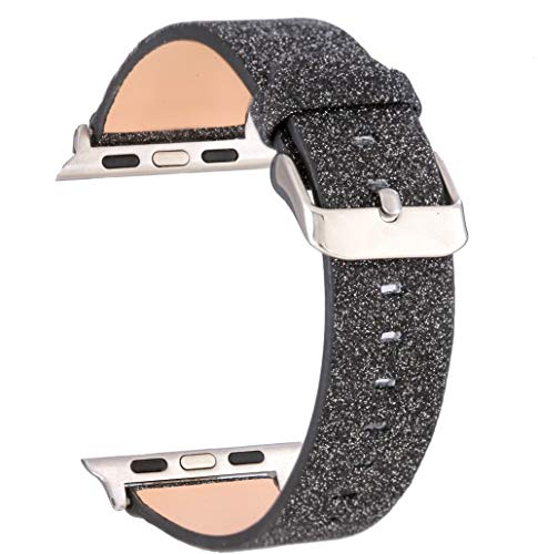 Moonooda Replacement for iWatch Band, Glitter 38mm 40mm Women Watch Strap Sparkling Compatible with iWatch Series 4 Series 3 Series 2 Series 1 Sport and Edition, Black