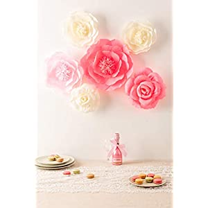 Large Pink Ivory and Watermelon Pink Crepe Paper Flowers (Set of 6), Wedding Decor, Party Decorations, Nursery Decor, Wall of Flowers,Floral Backdrop,Paper Flower Handcrafted 2