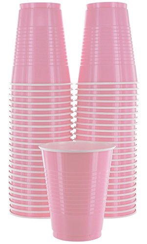 Amcrate Pink Colored 16-Ounce Disposable Plastic Party Cups - Ideal for Weddings, Party
