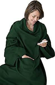 napa super soft wearable fleece throw blanket with sleeves lounger adult throw robe. Black Bedroom Furniture Sets. Home Design Ideas