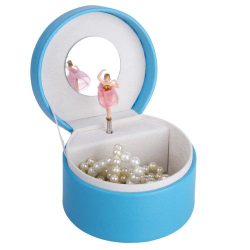 Rowling Jewelry Music Box Beads Organizer Case Storage Box Faux Leather ZM003 (Blue)