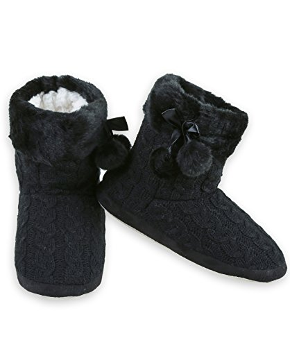 Knit with Faux Black Bootie ICONOFLASH Cable Trim Fur Women's Slipper XqwWEgF