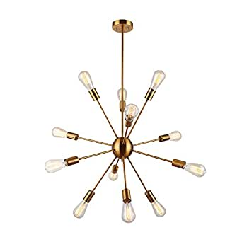 sputnik chandelier pendant lighting retro brass brushed 12 lights