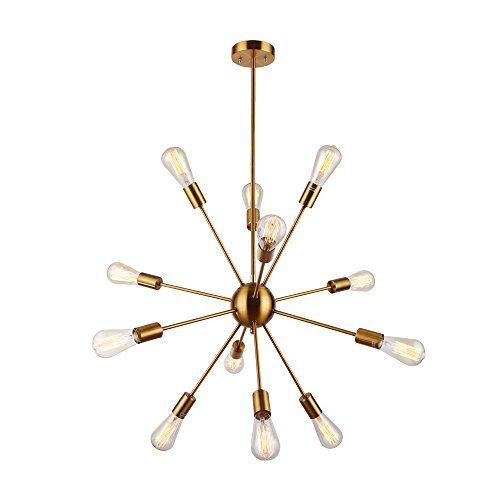 Housen Solutions Sputnik Chandelier - 12 Lights Brushed Brass Pendant Lighting, Retro Ceiling Light Fixture, UL LISTED Slope Pendant Adapter