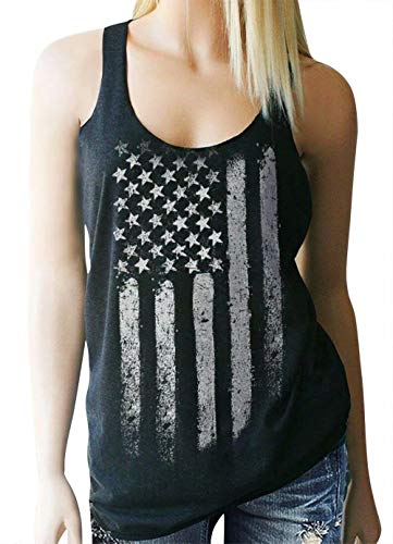 American Flag Tank Top - Women's White Distressed American Flag Tank Top Burnout Sleeveless Racerback Patriotic Tanks Shirt Size Small (Dark Grey)