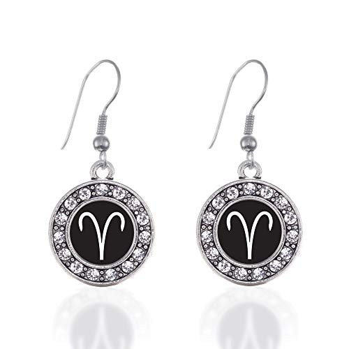 Zodiac Gemstone Earrings - Inspired Silver - Aries Zodiac Charm Earrings for Women - Silver Circle Charm French Hook Drop Earrings with Cubic Zirconia Jewelry