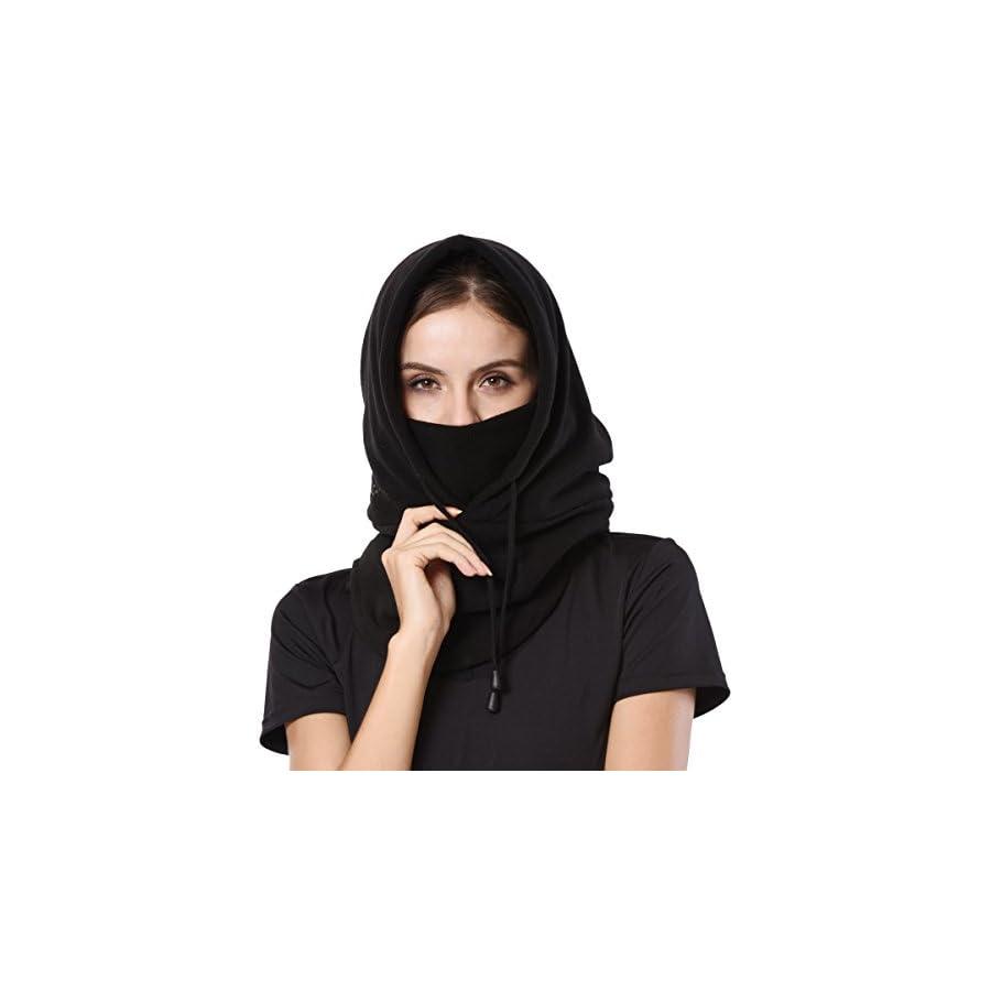 ApudArmis Windproof ski mask Balaclava Outdoor Sports Face Mask Neck Warmer Ski Hood Hat Unisex, One Size, Black
