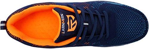 Herren Blaue Schuhe Arbeitsschuhe Sicherheitsschuhe 1623 LM luftdurchlässige Industrie und LARNMERN Orange Handwerk Stahlkappe Sicherheit BR6qw