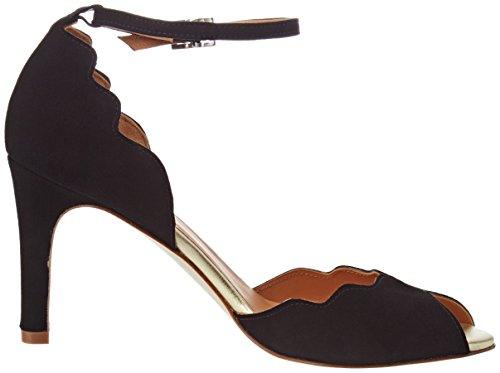 Sandalias correa mujeres para Go Soft Noir UK Gold 7 Suede con de Riona tobillo Emma Black rwrRYq