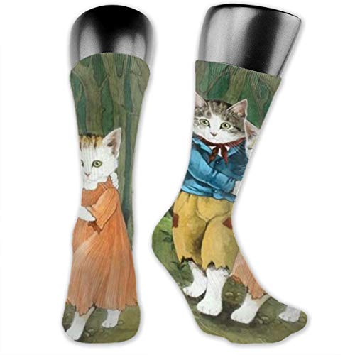 SARA NELL Men & Women Classics Crew Socks Cat Couple is Dancing Tango Thick Warm Cotton Crew Winter Socks Personalized Gift Socks]()
