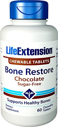 Life Extension Bone Restore 60 Chewable Tablets (Sugar-Free Chocolate) (Free Sugar Chewable Tablets Vitamins)