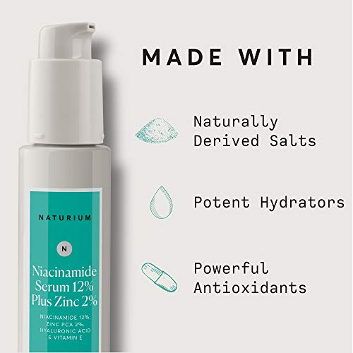 Niacinamide Serum 12% Plus Zinc 2% - 1oz, Vitamin B3, Minimize Pores, Balance Oil Production, Anti Aging, Wrinkles, Fine Lines, Facial Serum with Niacinamide, Hyaluronic Acid & Vitamin E