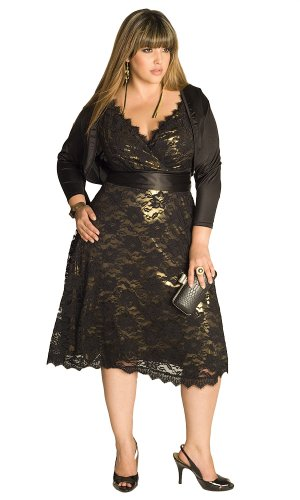 IGIGI Women's Plus Size Leigh Lace Dress in Gold 26/28