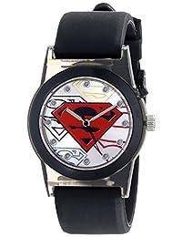 Superman Kids 'sup9117luminoso reloj con correa de hule de color negro
