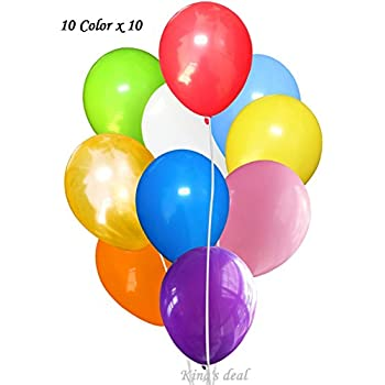 King's deal 100(10color x 10) Latex Balloons - 11 Inch - Assorted Colors