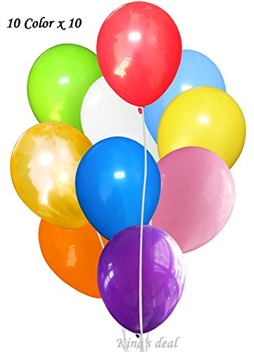 King's deal 100(10color x 10) Latex Balloons - 11 Inch - Assorted Colors (Different Color Balloons)