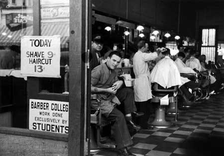 Photo Barbershop at down town hair school. 1936
