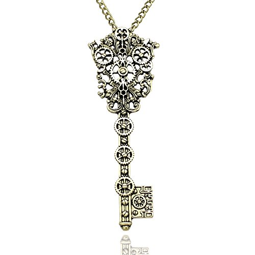 Gold Plated Vintage Victorian Filigree Skeleton Key Watch Clock Gear Cog Steampunk Chain Pendant Necklace