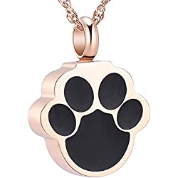 wonderful jewerly Pet Cremation Urn Necklace Dog/Cat Paw Print Memorial Jewelry Cremation Pendant (Rose Gold)