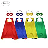 iROLEWIN Superhero Capes Masks Set Kids Dress Up Costumes--Boys Girls Party Favors, 4 Pack