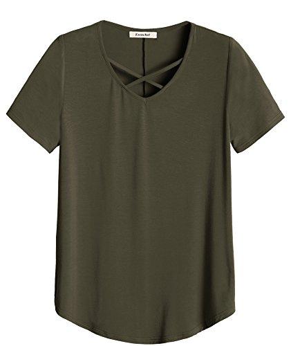 Esenchel Women's Criss Cross V Neck Casual T-Shirt Top 2X Army Green