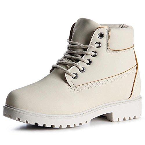 topschuhe24 1033 Damen Stiefeletten Worker Boots Beige