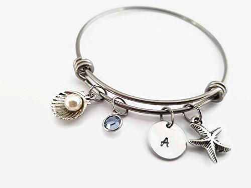 Sea shell bangle, Sea shell with pearl jewelry, Nautical bangle, Personalized bangle bracelet, Beach theme ()