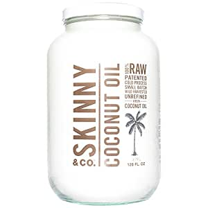 SKINNY and CO. 100% Raw, Virgin, Skinny Coconut Oil for Skin, Hair, Supplement and Cooking with No Heat (128 oz/1 Gallon)