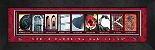 (College Campus Letter Art South Carolina Gamecocks Bold Print Framed Posters 22x6 Inches)
