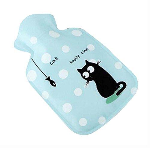's Hot Water Bottle/Hand Warmer, Cartoon Cat Blue, S 100 ML ()
