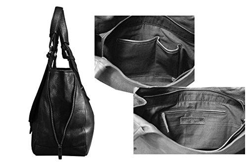 FERETI Donna Borsa Vera Pelle Nero Tracolla Portafoglio Bag Made Italy Mano Leather Da Pochette Con Borsetta Nuovo Genuine Spalla