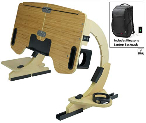 Portable Adjustable Laptop Bed Desk Stand Tray Table - Sturdy Wooden Workstation - Notebook or MacBook Compatible Limited Edition Whit Backpack Included