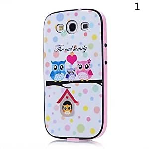 NEW Lovely owl Pattern Back Case Cover for Samsung S3 I9300(Assorted Color) , 1#